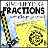 Simplifying Fractions Math Center Games
