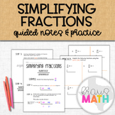Simplifying Fractions Notes and Practice