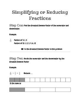 Simplifying Fractions Organizer with Steps