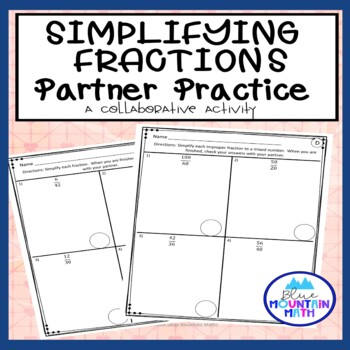 Simplifying Fractions Partner Practice