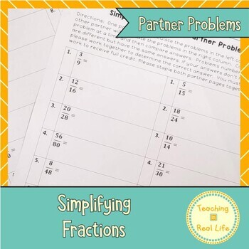 Simplifying Fractions Partner Problems
