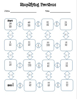 simplifying fractions puzzle by middle school math is fun  tpt