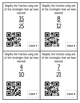 Simplifying Fractions QR Code Task Cards Math Station