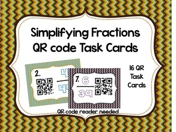 Simplifying Fractions QR Task Cards