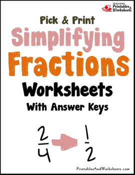 reducing or simplifying fractions and mixed numbers worksheets  tpt