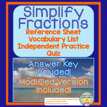 Simplifying Fractions:  Reference Sheet, Worksheet, and Quiz