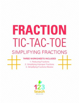Simplifying Fractions Review Activity Game - Partner Tic Tac Toe