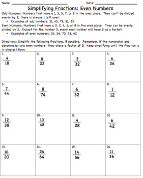 Simplifying Fractions Review & Quiz
