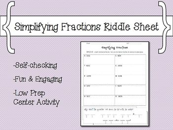 Simplifying Fractions Riddle Sheet