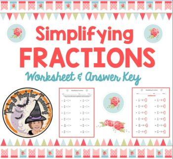 Simplifying Fractions Simplify Reduce Fraction with Answer KEY