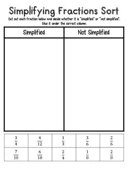 Simplifying Fractions Sort