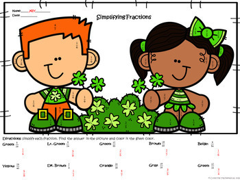 Simplifying Fractions | St. Patrick's Day | Color-by-Number Worksheet