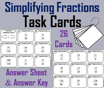Simplifying Fractions Task Cards 3rd 4th 5th 6th Grade