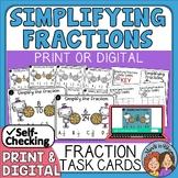 Simplifying Fractions Task Cards + Self-Checking Easel Assessment