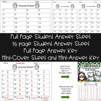 Simplifying Fractions Task Cards | Christmas FREEBIE