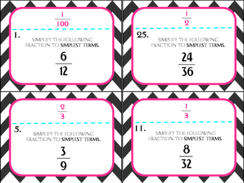 Simplifying Fractions Task Cards (GRADE 4 & 5)