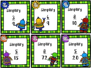 Simplifying Fractions Task Cards: Robot themed!