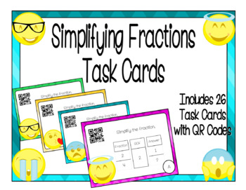 Simplifying Fractions Task Cards with QR Codes