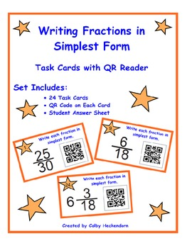 Simplifying Fractions Task Cards with QR Reader