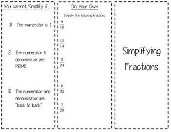 Simplifying Fractions Trifold