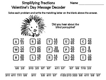 Simplifying Fractions Valentine's Day Math Activity: Message Decoder