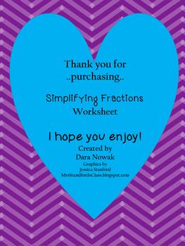 Simplifying Fractions Worksheet