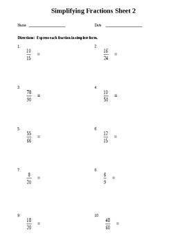 Simplifying Fractions Worksheet Teaching Resources | Teachers Pay ...