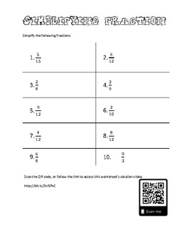 simplifying fractions worksheet and solutions video by william nelson