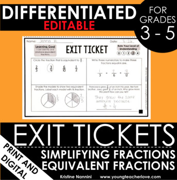 Simplifying Fractions and Equivalent Fractions Exit Tickets Differentiated Math