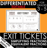 Simplifying Fractions and Equivalent Fractions Exit Ticket