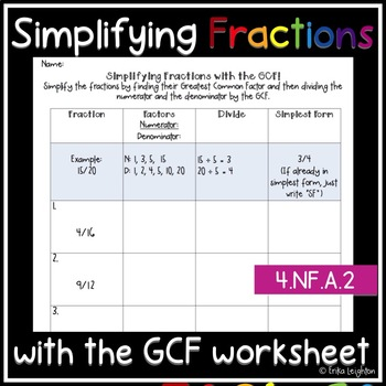 Simplifying Fractions with the GCF