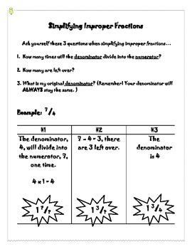Simplifying Improper Fractions