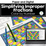 Simplifying Improper Fractions Color by Number