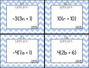 Simplifying Integer Expressions (Distributive Property) 7th Math Task Cards