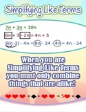 Simplifying Like Terms = Poster/Anchor Chart with Cards for Students
