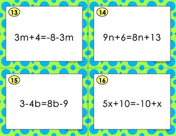 Algebra Multi-Step Equations Task Cards