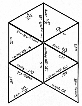 Simplifying, Multiplying, and Dividing Radicals - Matching Puzzle