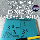 Simplifying Negative Exponents Foldable Notes