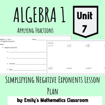 Simplifying Negative Exponents Lesson Plan