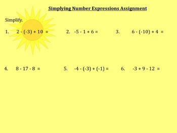 Simplifying Number Expressions Notes and Assignment on Smartboard