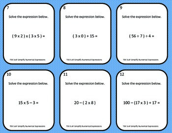 Simplifying Numerical Expressions Task Cards (TEK 5.4F)