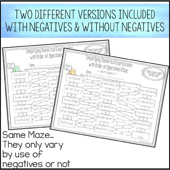 Simplifying Numerical Expressions with Order of Operations Maze Worksheet