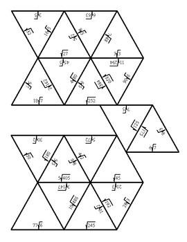 Simplifying Numerical Square Roots Kite Puzzle