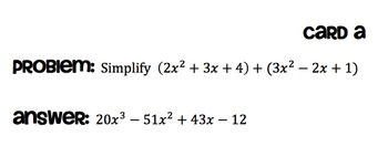 Simplifying Polynomials Scavenger Hunt