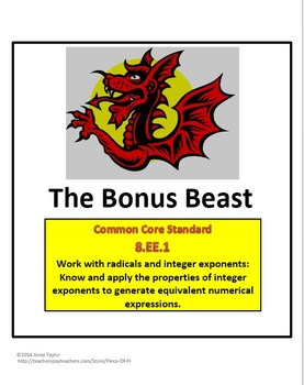 Challenge Beast! Simplifying Polynomials Exponent Rules Math Common Core 8.EE.1