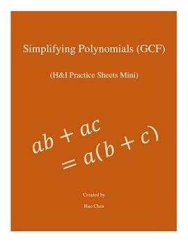 Simplifying Polynomials (GCF) - H&I Practice Sheets Mini