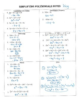 Simplifying Polynomials Guided Notes