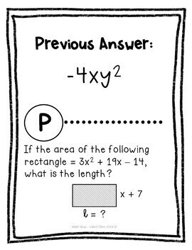 Simplifying Polynomials Looping Cards or Scavenger Hunt
