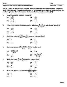 Simplifying Polynomials with Rational Expressions - Unit Exam - 2 Versions