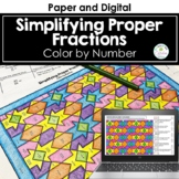 Simplifying Proper Fractions Color by Number